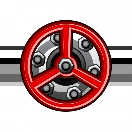 Illustration for Red industrial valve - illustration for the web - Royalty Free Image