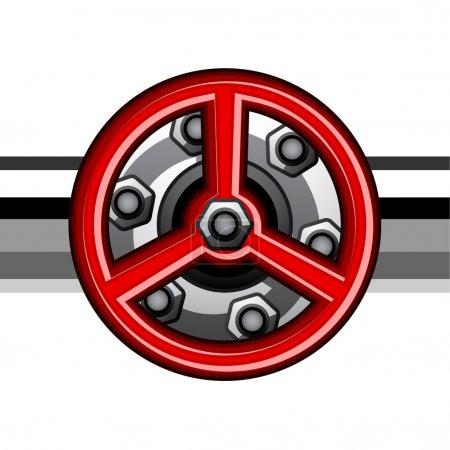 red industrial valve