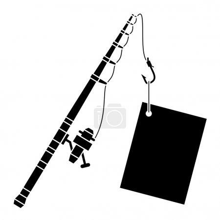 Illustration pour Canne à pêche noire avec étiquette - illustration pour le web - image libre de droit