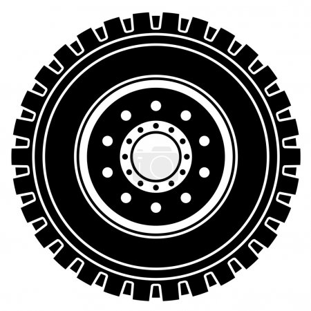Truck wheel black white symbol
