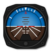 Aviation airplane attitude indicator - artificial gyroscope horizon - illustration for the web