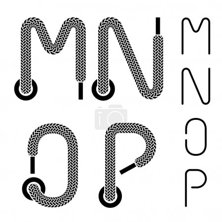 shoe lace alphabet letters M N O P