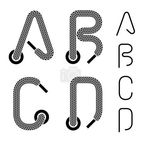shoe lace alphabet letters A B C D