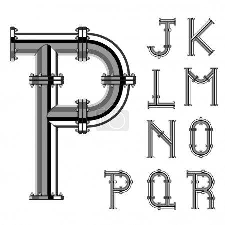 Illustration pour Chrome pipe alphabet lettres partie 2 - illustration pour le web - image libre de droit