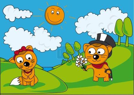 Illustration pour Animaux drôles dans la Prairie cueillait des fleurs - image libre de droit