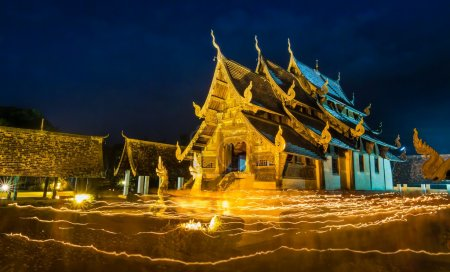 Wat Ton Kwen Temple On Visakha Puja Day Of Chiang Mai, Thailand