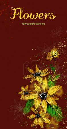 Illustration for Vector card with stylized flowers. Sunflower - Royalty Free Image