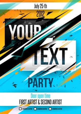 Illustration for Party poster template. Vector - Royalty Free Image