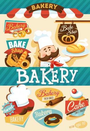 Illustration pour Modèle de conception de boulangerie - image libre de droit