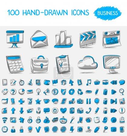 100 hand-drawn icons.