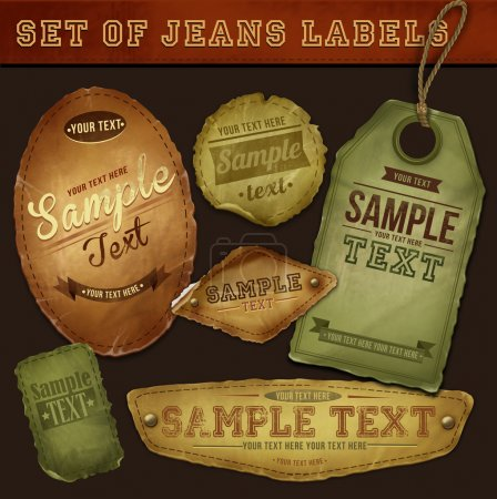 Vector detailed jeans tags