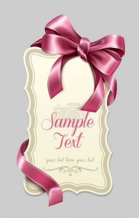 Illustration for Vintage label with a pink bow - Royalty Free Image