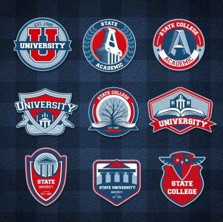 Illustration for Set of university and college school badges - Royalty Free Image