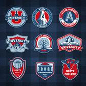 Set of university and college school badges