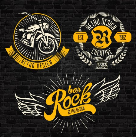 Illustration for Rock themed badges. Vector - Royalty Free Image