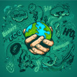 Human hands holding Earth, save earth concept...