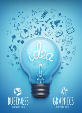 Illustration for Light bulb and drawing business strategy. Vector - Royalty Free Image