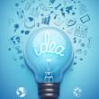 Light bulb and drawing business strategy. Vector...
