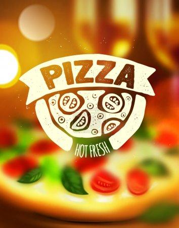 Illustration pour Étiquette de pizza sur fond flou - image libre de droit