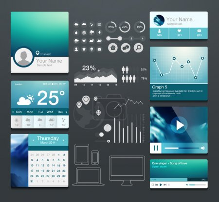 Set of various elements used for user interface