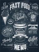 Fast food chalkboard design set