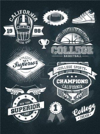 College athletics sport chalkboard design set