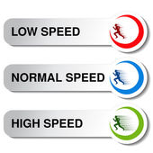 Vector button of speed - low normal high