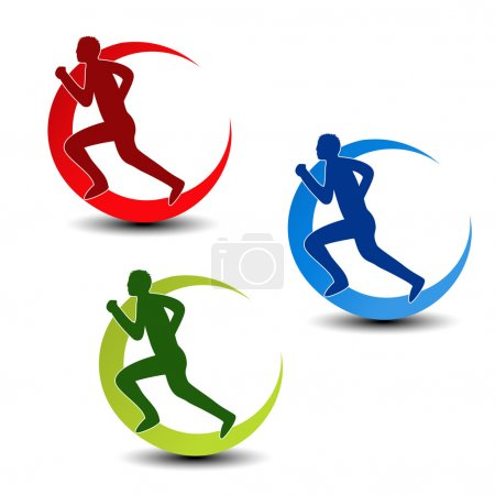 Vector circular symbol of fitness - runner silhouette