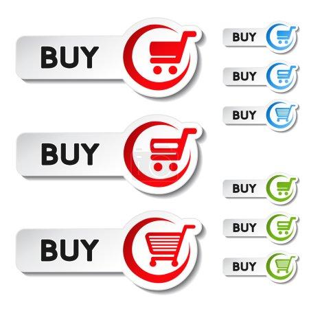 Illustration pour Vecteur panier article, chariot, bouton acheter - illustration - image libre de droit