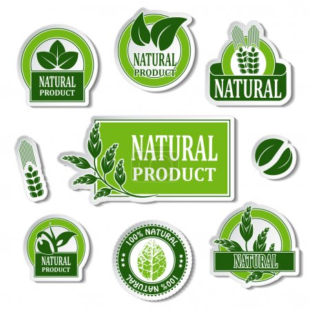 Illustration for Vector nature stickers for natural product - illustration - Royalty Free Image