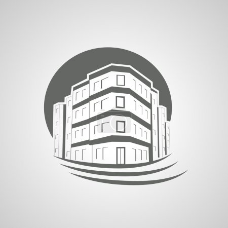 Illustration for Vector symbol of home, house icon, realty silhouette, real estate, Apartment Building - illustration - Royalty Free Image