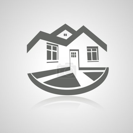 Illustration for Vector symbol of home, house icon, realty silhouette, real estate modern logo - illustration - Royalty Free Image