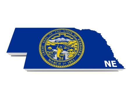 Nebraska state flag on 3d map