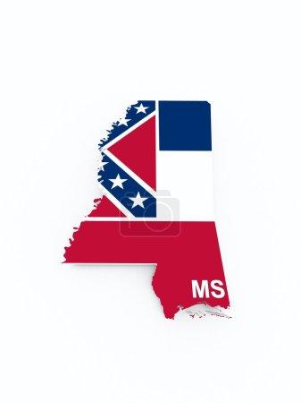 Mississippi flag on 3d map