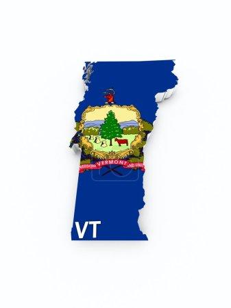 Photo pour Drapeau de Vermont sur carte 3d - image libre de droit