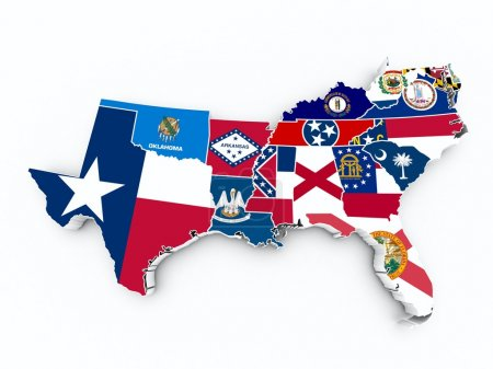 South region flags on 3d map