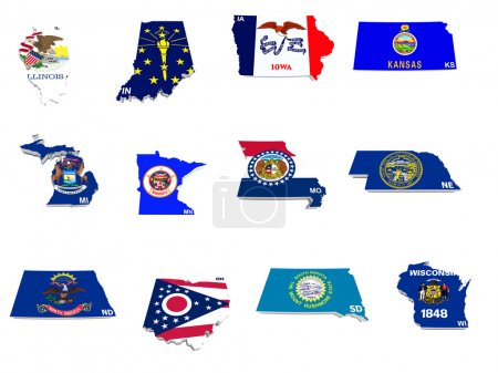 Usa midwest states flags on 3d maps