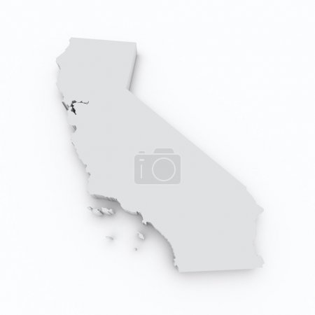 California state flag on 3d map