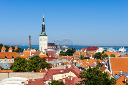Panorama of the old town of Tallinn, Estonia. With...