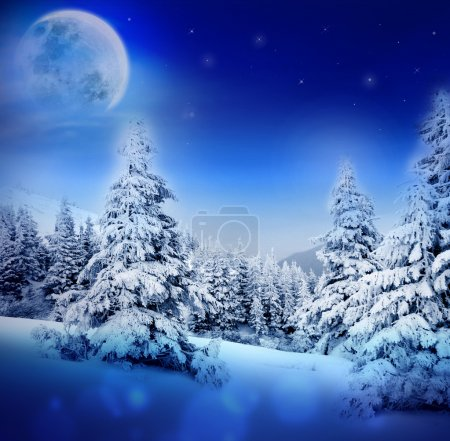 Photo for Winter night in fairy snowy fir forest with moon and starry sky. Christmas tree, winter mountains landscape. Can be used as Christmas or New Year card or greeting. - Royalty Free Image