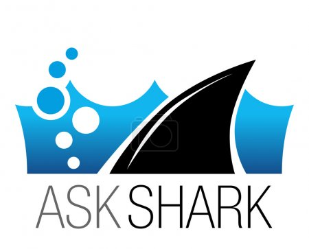 Shark fin in water. Corporate icon. Vector design template