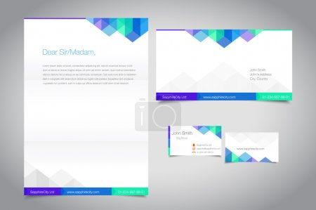 Corporate identity set for your business. Letterhead, envelope and business card. Place for text, editable