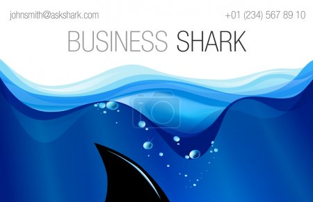 Illustration for Vector business card for your business with shark fin in water - Royalty Free Image