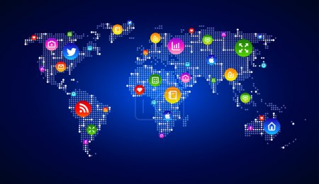 Vector EPS 10 Digital world map circuit, symbolizing digital marketing, globalization, Hi tech, social media, connection and synchronization. Modern infographic template.