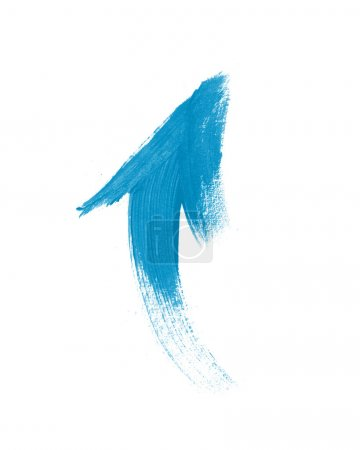 Photo for Blue hand painted brush stroke arrow - Royalty Free Image