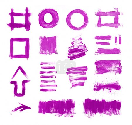 Set of purple hand painted brush strokes, daubs, frames, textures and arrows