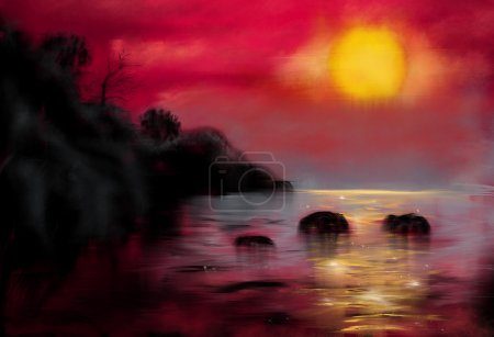 Hand painted landscape - sunset at sea in Thailand