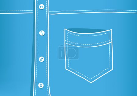 Blue vector shirt detail with a pocket