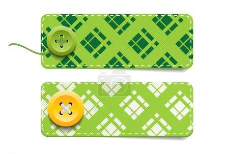 Illustration pour Vecteur vert tartan tissu texturé insignes avec boutons - image libre de droit