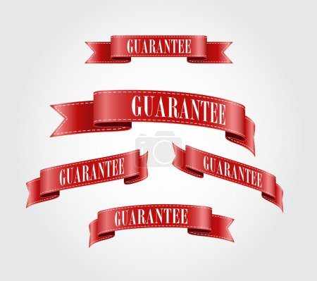 Red glossy silky ribbon Guarantee tags collection